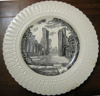 Old English Ruins Black Transferware Plate