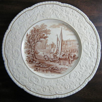OLD Brown Toile Transferware River Boat Raised Scroll Gold Edge Plate Charger www.DecorativeDishes.net