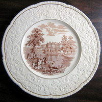 OLD Brown Toile Transferware Couples Dog Swans Raised Scroll Gold Edge Plate Charger www.DecorativeDishes.net