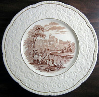OLD Brown Toile Transferware Horses Dogs Castle Raised Scroll Gold Edge Plate Charger www.DecorativeDishes.net