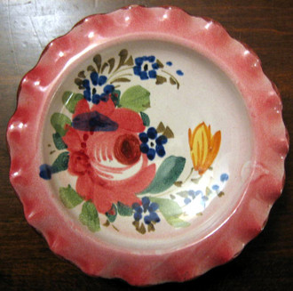 Sweet Small 4.5 inch Italy Handpainted Rose Fluted Edge Dish