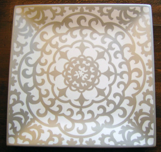 Silver on White Scroll Plate