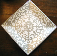 Shiny Silver on White Moorish Medallion Square Plate Tile M