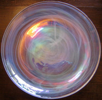 Rainbow swirl art glass plate