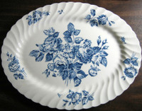 Cobalt Blue White Transferware Rose Bouquet Swirl Edge Oval Platter