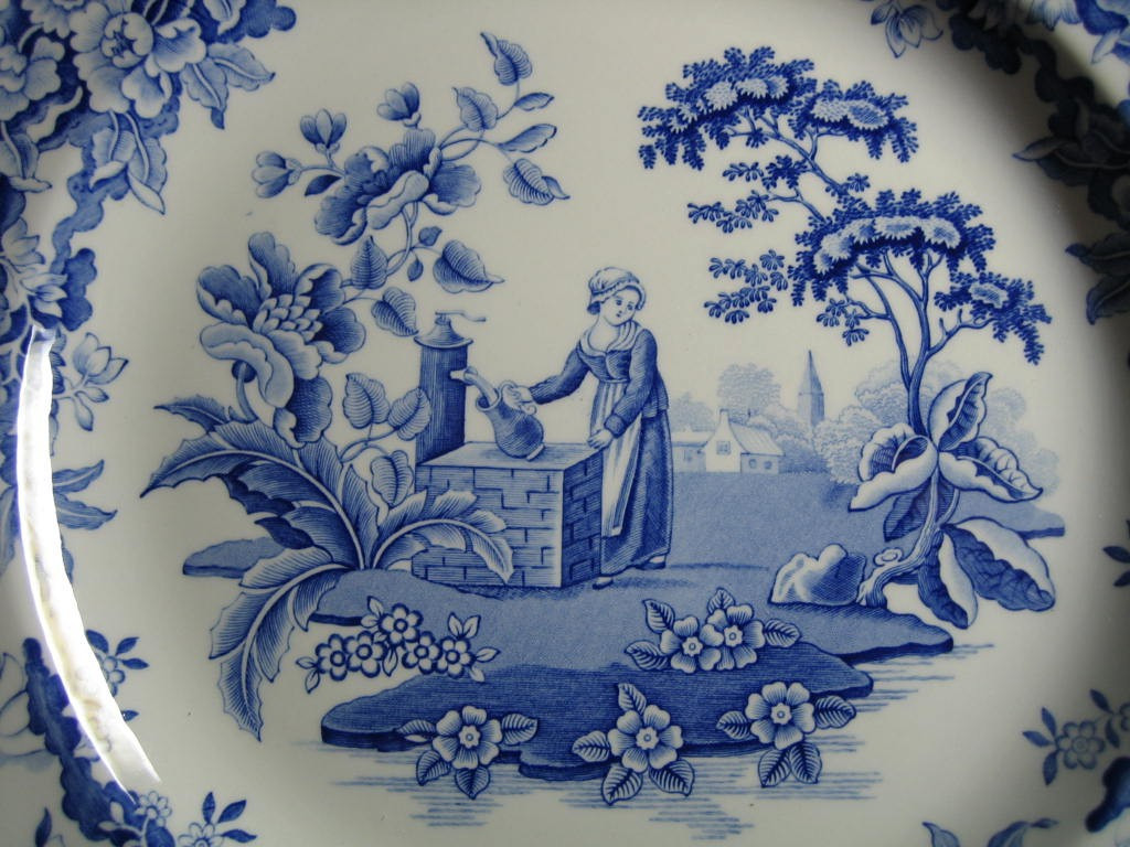 Blue Toile Transferware Girl Calico Daisy Plate Center www.DecorativeDishes.net