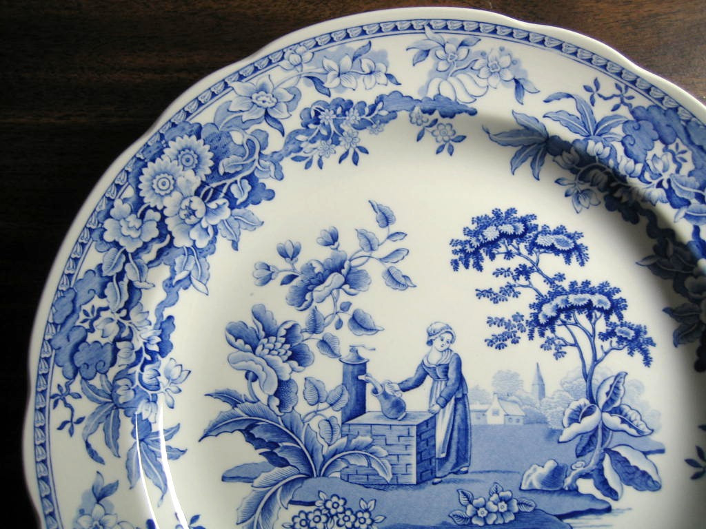 Blue Toile Transferware Girl Calico Daisy Plate Edge www.DecorativeDishes.net