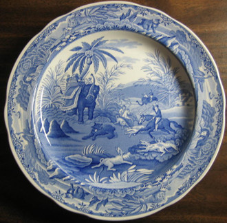 Blue White Transferware Exotic Jungle Elephant Palm Plate