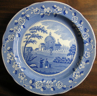 Blue White Transferware Couple Child Domed Church Plate