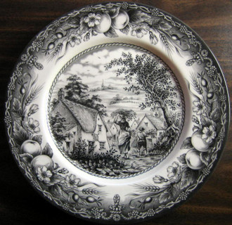 Black Cream Toile Transferware Woman Boy Inn Fruit Plate