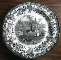 Black White Transferware Toile Victorian Women Zoo Ostrich Plate
