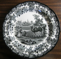Black White Transferware Toile Victorian Couple Zoo Camel Plate