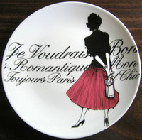 Vintage Rosanna Pink Skirt Girl Black White French Script Plate