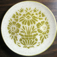 Vintage 1960s Mad Men Green Stencil Sunflower Mottled Glaze Plate