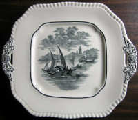Black White Transferware Venetian Boat Square Handled Plate