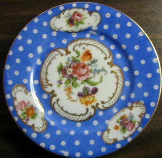 Antique German Hand Painted Blue Gold Roses Plate