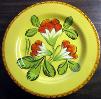 Vintage Hand Painted Red Flowers Green Leaves Gold Italy Plate