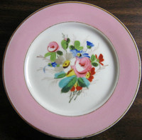 Antique Shabby Chic Hand Painted Rose Gold Edge Plate 1