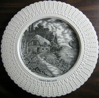 Black Cream Toile River River Cottage Boat Swans Raised Edge Old Plate