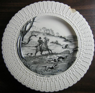 Shabby Black Cream Toile Horses Dogs Hunt Beaded Edge Old Plate