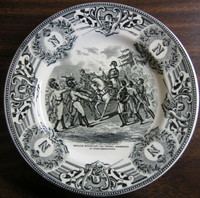 Black Cream Toile Napolean Horse Monogram Troops Belgium Plate