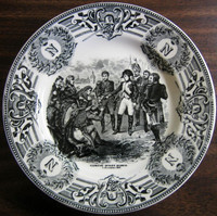 Black Cream Toile Napolean Monogram Belgium Plate 1806 Madrid