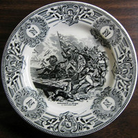 Black Cream Toile Napolean Flag Monogram Belgium Plate 1796