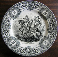 Copy of Black Cream Toile Napolean Horse Monogram Belgium Plate 1799