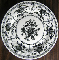 Black on White Exotic Bird Poppy Decorative Euro Style Plate