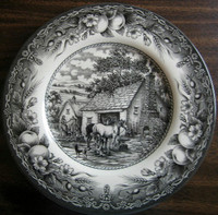 Black Toile Transferware Horse Dog Woman Well Fruit Plate