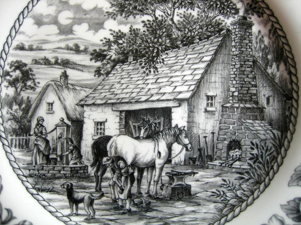 Black Toile Transferware Horse Dog Woman Well Fruit Plate Center www.DecorativeDishes.net