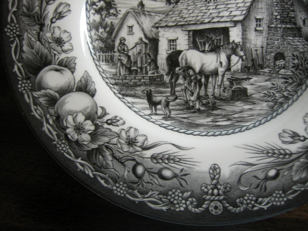 Black Toile Transferware Horse Dog Woman Well Fruit Plate Edge www.DecorativeDishes.net