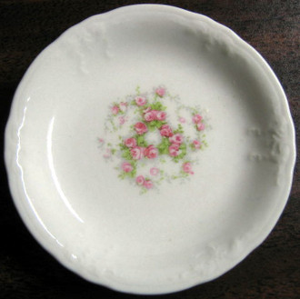 Tiny Swirl of Roses Butter Pat Miniature Dish FREE SHIP