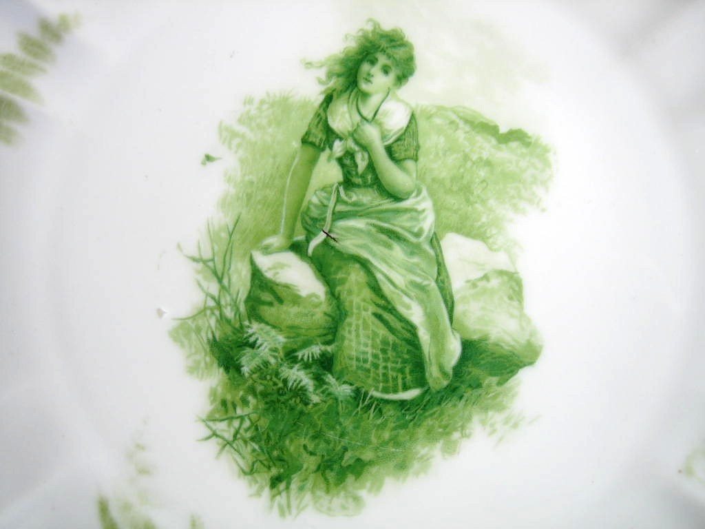 Antique Green Girl on Rock Fern Textured Pierced Porcelain Plate Center www.DecorativeDishes.net