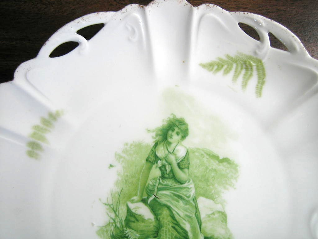 Antique Green Girl on Rock Fern Textured Pierced Porcelain Plate Edge www.DecorativeDishes.net