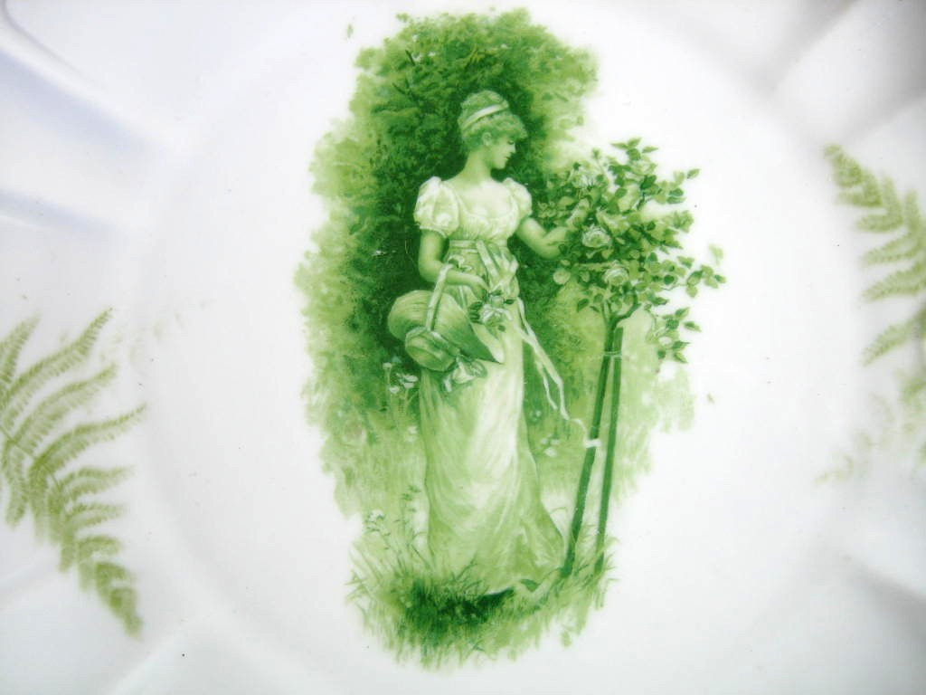 Antique Green Woman Bonnet Roses Fern Textured Pierced Porcelain Plate Center www.DecorativeDishes.net