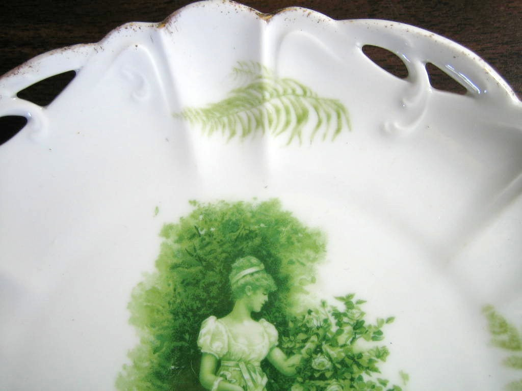 Antique Green Woman Bonnet Roses Fern Textured Pierced Porcelain Plate Edge www.DecorativeDishes.net