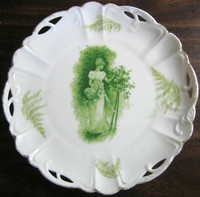 Antique Green Woman Bonnet Roses Fern Textured Pierced Porcelain Plate