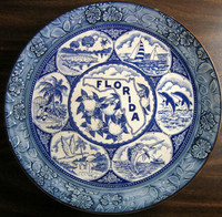 Blue White Vintage Florida Souvenir Textured Edge Large Plate