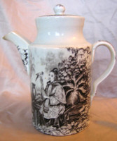 Antique Black Transferware Woman Bird Parasol Lidded Pot with Spout