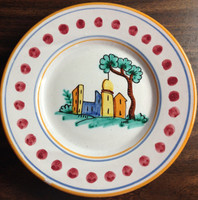 Hand Painted in Italy Italian Village Plate with Dots www.DecorativeDishes.net