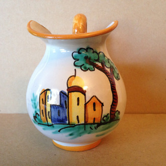 Hand Painted in Italy Warm Italian Village Small Pitcher www.DecorativeDishes.net