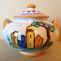 Hand Painted in Italy Warm Italian Village Lidded Handled Bowl www.DecorativeDishes.net