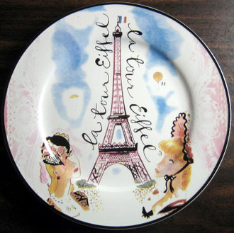 Vintage Whimsical Rosanna Eiffel Tower Pink Lace Ladies Plate www.DecorativeDishes.net