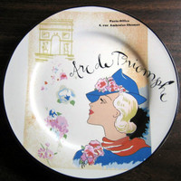 Vintage Whimsical Rosanna Arc de Triomphe Blue Hat Lady Plate www.DecorativeDishes.net