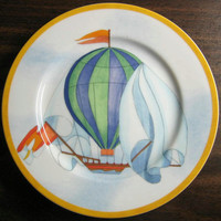 Whimsical Blue Green Hot Air Balloon Sky Gold Edge Plate Japan www.DecorativeDishes.net