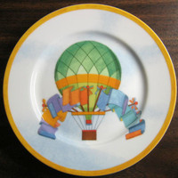 Whimsical Green Hot Air Balloon Flags Sky Gold Edge Plate Japan www.DecorativeDishes.net