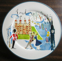 Whimsical London Bridge Big Ben Couple Cartoon Bon Voyage Plate