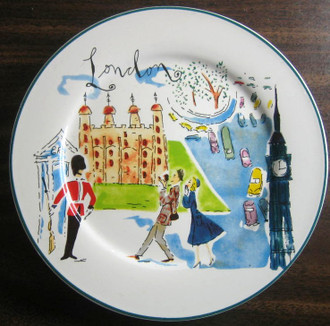Image 1 & Whimsical London Bridge Big Ben Couple Cartoon Bon Voyage Plate ...