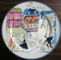 Whimsical Paris Cafe Couple Gendarme Cartoon Bon Voyage Plate